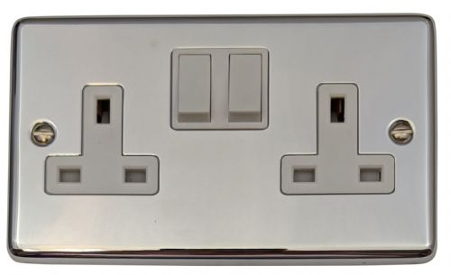 G&H CC10W Standard Plate Polished Chrome 2 Gang Double 13A Switched Plug Socket